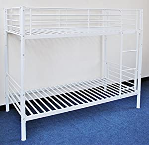 Childrens Seattle Single Bunk Bed 3ft in White Metal Finish