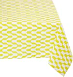 "Mahogany P117T120 Rectangle ""Jude"" Printed Tablecloth, 60 by 120-Inch, Yellow"