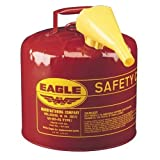 "Search : Eagle UI-50-FS Red Galvanized Steel Type I Gasoline Safety Can with Funnel, 5 gallon Capacity, 13.5"" Height, 12.5"" Diameter"