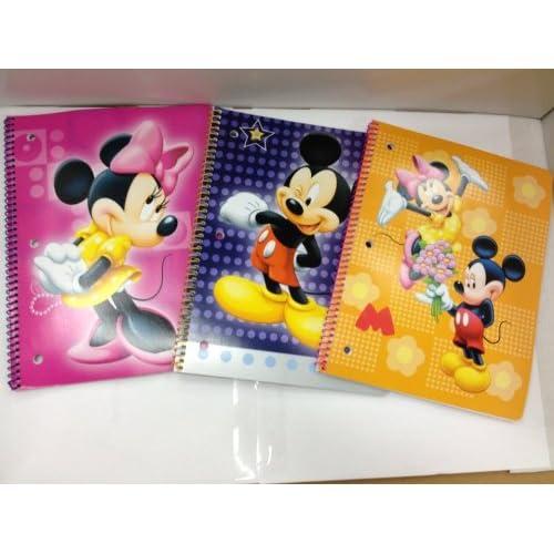 3 Pack Disney Mickey & Minnie 50 Sheet Spiral Notebooks