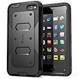 i-Blason Amazon Fire Case - Armorbox Dual Layer Hybrid Full-body Protective Case with Front Cover and Built-in Screen Protector / Impact Resistant Bumpers (Black)