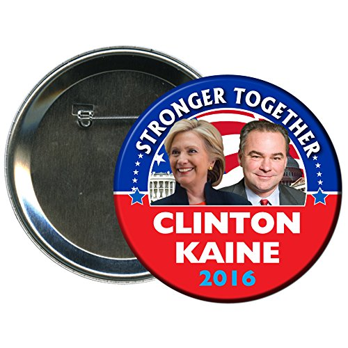 Hillary Clinton and Tim Kaine Round 2016 Campaign Button 4 (Election Buttons compare prices)