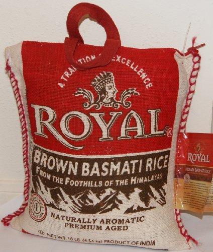 Royal Naturally Aromatic Premium Aged Brown Basmati Rice 10 Lbs Bag - NET WT 10 lbs (4.54 kg)