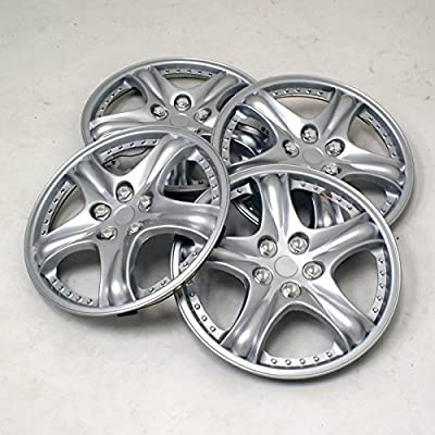 TuningPros WSC2-006S14 Hubcaps Wheel Skin Cover Type 2 14-Inches Silver Set of 4