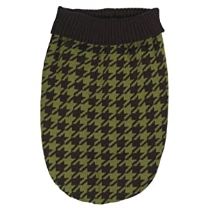 East Side Collection 10-Inch Acrylic Oxford Houndstooth Dog Sweater, X-Small, Brown/Green