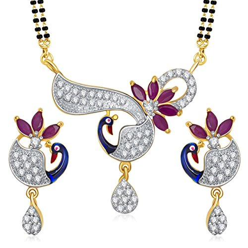 Amaal Mangalsutra Pendant Set With Earrings For Women Girls Jewellery Set Gold Plated In Cz American Diamond MSPT0183