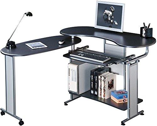 SixBros. Office - Scrivania porta pc nero/argento - S-213/96 - MDF granito nero - struttura metallo argento