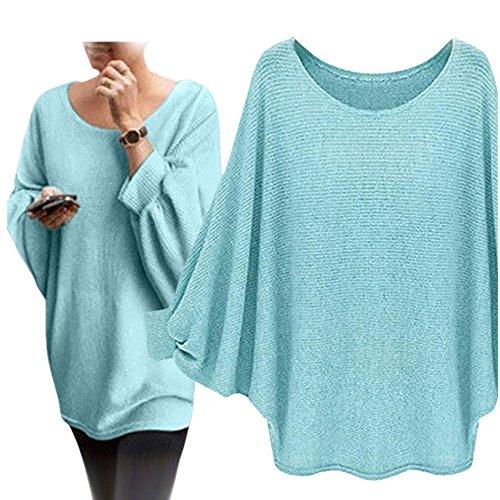 Reasoncool Le donne oversize Batwing lavorato a maglia Pullover allentato maglione (Free Size, Verde)