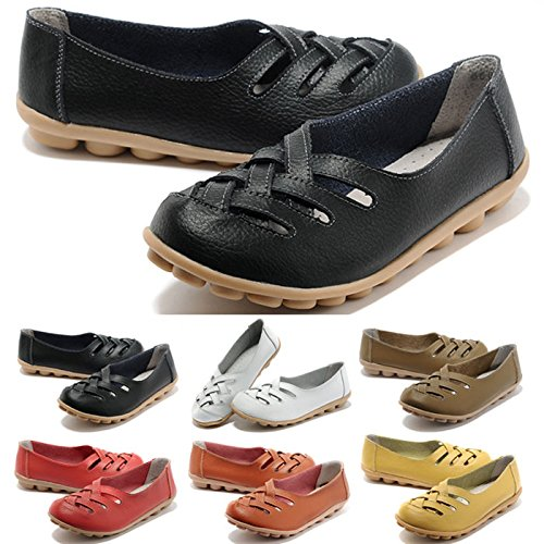 98bf5b877f8 FUNOC Womens Ladies Casual Cut Out Leather Loafers Flat Shoes - Import It  All