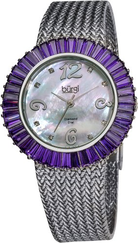 Burgi Women'S Bur076Bu Mother-Of-Pearl Diamond And Baguette Bracelet Watch