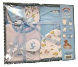 Baby 7 Piece Bath Gift Set - Includes 1 Embroidered Creeper, 1 Printed Bib, 1 Printed Cap, Infant Mittens, 2 Washcloths, & a Brush and Comb (Blue)