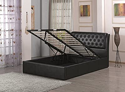 Chesterfield Style Black Faux Leather Ottoman Storage Bed Frame 4ft6 Double