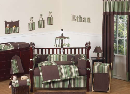 Ethan Green and Brown Modern Boys Baby Bedding 9pc Crib Set by Sweet Jojo Designs