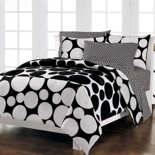 Loft Style Spot The Dot Modern Bedding Comforter Set, Black, Queen