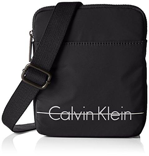 Calvin Klein Logan 2 Mini Flat Crossover Borsa Messenger, 75 cm, Nero