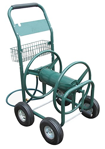 Liberty Garden Products 872-2 Residential 350-Foot Capacity Four Wheel Steel Garden Hose Reel Cart Green (Garden Hose Trolley compare prices)