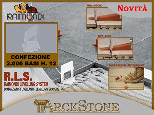 ARCKSTONE 1 confezione da 2000 basi 3-12 mm per fuga da 1,5 mm pavimento piastrella mattonella rivestimento Raimondi Levelling System RLS