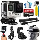 GoPro HERO4 Hero 4 Black Edition 4K Action Camera Camcorder with Extreme Action Sport Accessory Package includes 32GB MicroSD Card + Selfie Stick Portrait Monopod + Bike Handlebar Mount + Car Windshield Suction Cup + Head Helmet Strap + Floating Float Hand Grip Bobber + Mini Tripod + Dust Cleaning Care Kit (CHDHX-401)