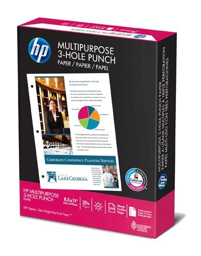 HP Copy/Laser/Inkjet 3-Hole Paper, 96 Brightness,