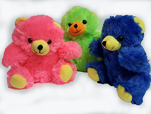 Plush family's neon colors 6 inch teddy bears pack of 3 (one of each color) (Teddy Bear Lot compare prices)