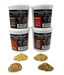 Wood Smoking Chips - Oak, Cherry, Hickory, and Alder Wood Smoker Value Pack - Set of 4 Resealable Pints