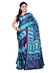 Surat Tex Sky Blue & Dark Pink Crepe Daily Wear Printed Sarees With Blouse Piece-E580SE1003AST