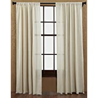 Country Style Tobacco Cloth Natural Panel Fringed Set of 2 84x40