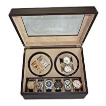 TimelyBuys 4 + 6 Quad Chocolate Brown Leatherette Automatic Watch Winder & Storage Case