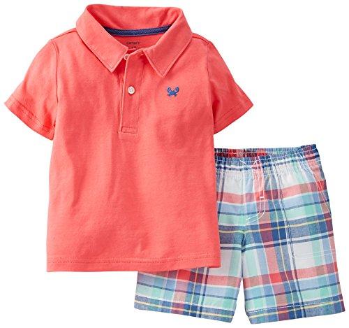 Carter'S Baby Boys 2-Piece Polo Shirt & Plaid Shorts Set (6 Months)