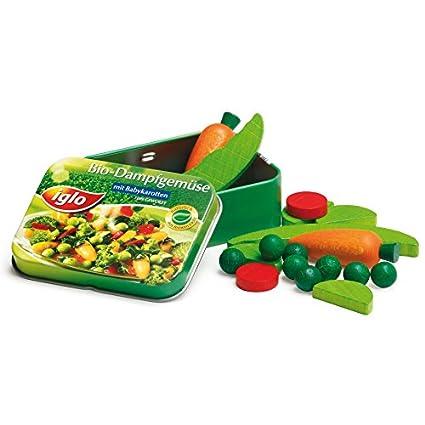 Erzi-Pretend-Play-Wooden-Grocery-Shop-Merchandize-Vegetables-Iglo-In-A-Tin,-18-Pc
