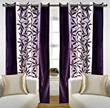 "Home Candy Eyelet Fancy Polyester 2 Piece Door Curtain Set - 84""x48"", Purple (SOE-CUR-170_170)"
