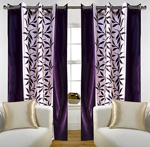 """Home Candy Eyelet Fancy Polyester 2 Piece Door Curtain Set - 84""""x48"""", Purple (SOE-CUR-170_170)"""
