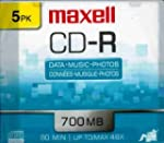 Maxell CDR 700 5-Pack SLIM CASE 80Min...