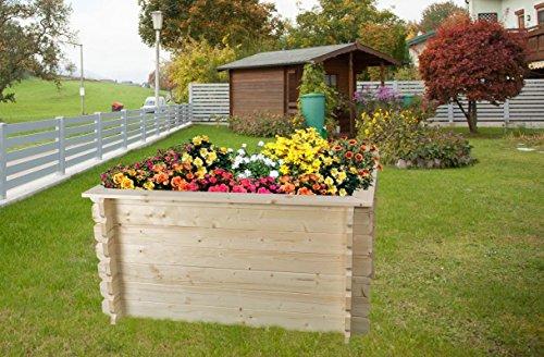Hochbeet-Gartenfreude-aus-Blockbohlen-Sockelma-148-x-98-cm-Bohlenstrke-28-mm