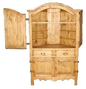 San miguel rustic corner armoire bedroom for Corner bedroom armoire