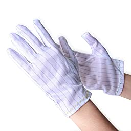 Maxsharer 3Pair White Color Stripe Anti Static Esd Cleanroom Gloves for Computer/electronic/working/repairing (Small)