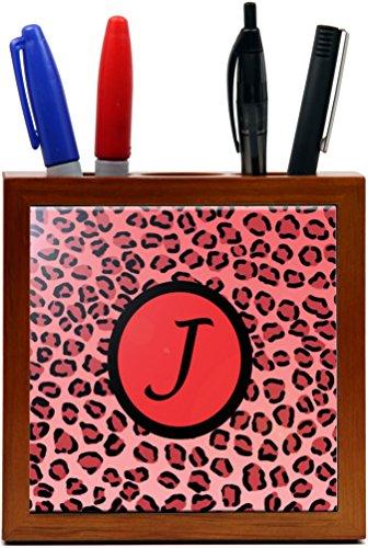 "Rikki Knighttm Letter ""J"" Initial Red Leopard Print Monogrammed Design 5 Inch Tile Wooden Tile Pen Holder front-622411"