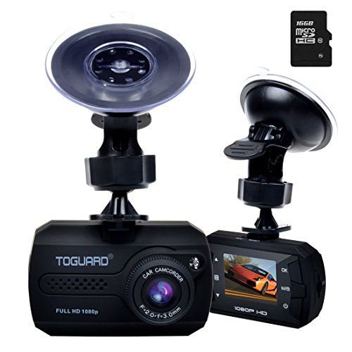 TOGUARD Mini FHD 1080P Dash Camera Car DVR Recorder, G-Sensor, Motion Detection, Loop Recording,Free with 16GB Micro SD Card (Mini Sd Card 16gb compare prices)