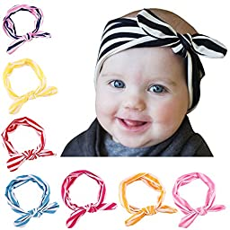 Lovinglove Baby Girls Cotton Turban Headbands (8 Pieces Color Stripe Rabbit Ears)