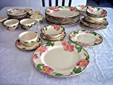 4X 6-Piece Place Settings, PLUS 4 dinner plates & 4 coffee, 37 Pcs. U.S.A. Franciscan DESERT ROSE lot set service earthenware Antique china