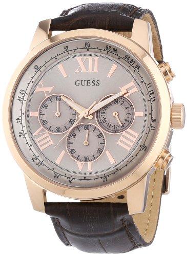 Guess  W0380G4 - Reloj de cuarzo para hombre, con correa de cuero, color marrón