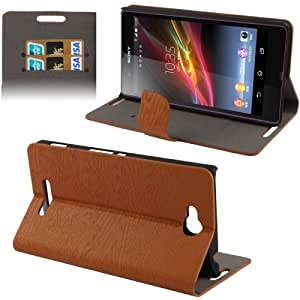 Wood Texture Horizontal Flip Leather Case with Credit Card Slots & Holder for Sony Xperia C / S39h (Brown)