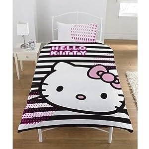 HELLO KITTY GRAPHICS GIRLS REVERSIBLE SINGLE BED DUVET QUILT COVER BEDDING SET