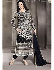 Designer Dress Material Orange Semi Stiched Straight Cut Salwar Kameez Suit. - B00ZUM5D8M
