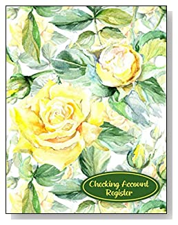 Yellow Roses Checking Account Register - A beautiful book with wide lines to easily track all your checking account activity without having to write tiny and cram everything into those little check register booklets.