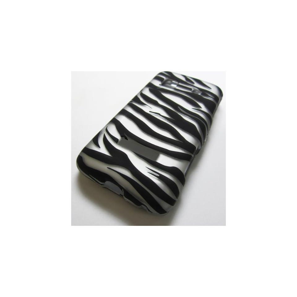 Rubberized Hard Phone Case Cover for Samsung Galaxy Precedent Sch m828c Straight Talk Galaxy Prevail Sph m820 Boost Mobile Tracfone  /Zebra Black and Silver Stripes