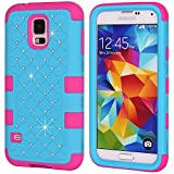 Image of Galaxy S5 Case, Galaxy SV Case, NOKEA Hybrid Heavy Duty Shockproof Full-Body Protective Case Ultra Slim Bumper Cover 3 in 1 Shield Soft TPU Hard PC Dual Layer Impact Protection (Blue Rose)