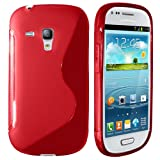 SAMSUNG I8190 GALAXY S 3 MINI RED S LINE WAVE GEL SKIN CASE COVER & LCD SCREEN PROTECTOR FROM GB ONLINE SALES - FREE UK DELIVERY