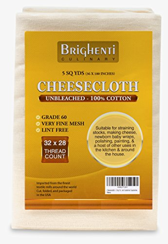 Brighenti Cheesecloth - 5 Yds - Grade 60: Very Fine Mesh - Unbleached, 100% Cotton