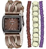 Kahuna Women's Quartz Watch with Brown Dial Analogue Display and Brown Leather Strap KLS-0209LSTK